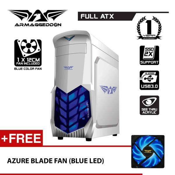 Vulcan V1x Full ATX Gaming PC Chassis (White) Free Azure Blade Fan By Armaggeddon Malaysia