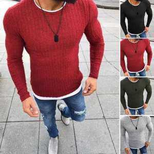 Hình thu nhỏ sản phẩm Big Sale Men's Warm Linen Round Neck Pullover Winter Autumn Fashion Casual Jumper Sweater Tops