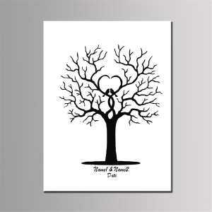 Hình ảnh Fingerprint Thumbprint Tree Personalised Wedding Alternative Guest Book Gifts # 40*60cm - intl