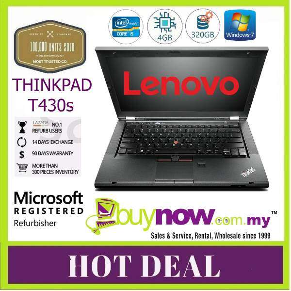 REFURBISHED LAPTOP , NOTEBOOK LENOVO THINKPAD T430s INTEL CORE i5 - 3320M 2.60GHz , 4GB DDR3 , 320GB HARD DISK WINDOWS 7 PRO Malaysia