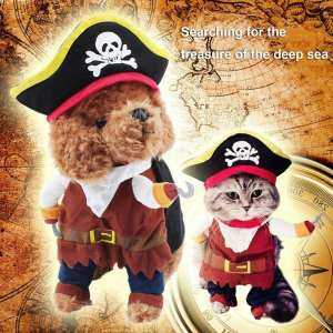 XIN Funny Pet Dog Cat Clothes Suit Pirate Turned Cat Suit Cosplay Perform Toys