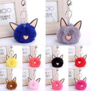 Bluelans Cute Cat Faux Fur Fluffy Ball Key Chain Bag Girls Pendant Hanging  Keyring Gift (Black) - intl 2131bdb563ea0