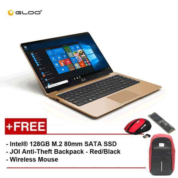 JOI Book 100 A147G 14 FHD (Cel N3450, 4GB, 32GB, Intel HD 500, W10) - Gold [Free Intel® 128GB M.2 80mm SATA SSD + JOI Anti-Theft Backpack - Red/Black + Wireless Mouse] Malaysia