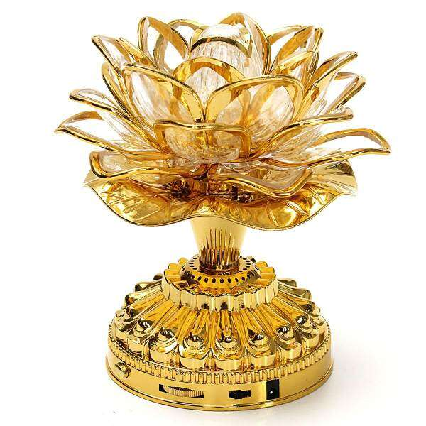 Buddhist Prayer Lamp with 20 Kinds Buddhist Songs LED Lotus Flower With Plug