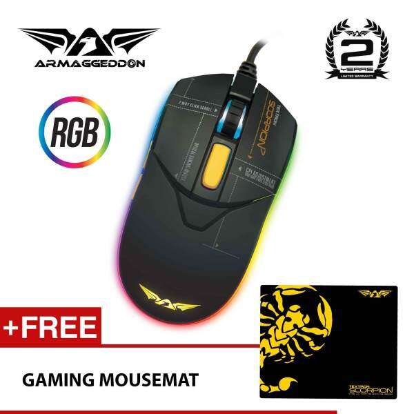 Scorpion 7 RGB Gaming Mouse 4800CPI (Free Gaming Mousemat) by Armaggeddon Malaysia
