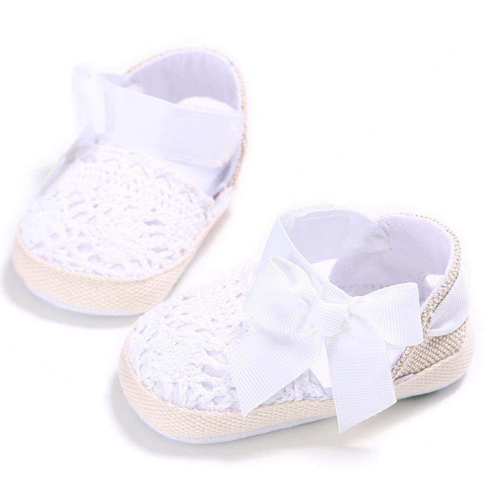 Baby Girls Sandals Bowknot Knitted Soft Sole Shoes First-walkers