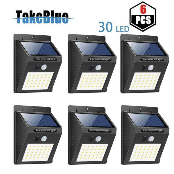 TakeBlue 30 LED Solar Lights Outdoor , 3 Intelligent Modes , Waterproof Solar Powered Motion Sensor Light Wireless Security Lights Outside Wall Lamp for Driveway Patio Garden Path ( 6 Pack )
