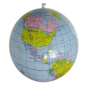 YANYI 16 Inch English PVC Inflatable Globe Beach Ball Kid's Toy Gift Ornament Diameter:16 inches