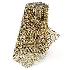 Hình ảnh 2/4 Yard 4.72'' Wedding Diamond Mesh Wrap Roll Sparkle Rhinestone Crystal Ribbon#Gold - intl
