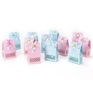 Baby Shower Candy Box Party Decoration Paper Baptism Kid Favors Gift Sweet Birthday Bag 12pcs Baby Pink
