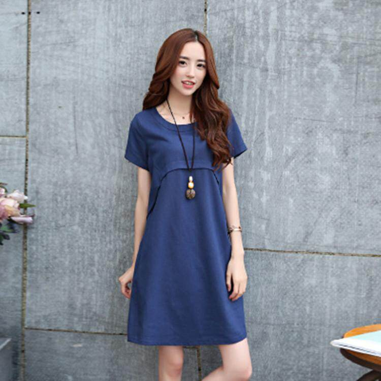 Women's Cotton and Linen Dress Lady Short-sleeved Loose Korean Style Dress