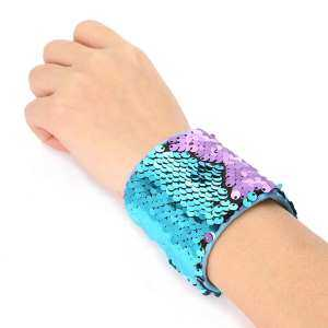 Hình thu nhỏ sản phẩm LingTud Mermaid Bracelet for Women,Girls,Kids,Boys,Two-color Reversible Equins Charm Wristband,Magic Bracelet,for Birthday Party Favors,Christmas Gifts,Super-soft Velvet Lining(Blue-Purple,2 Pack) - intl