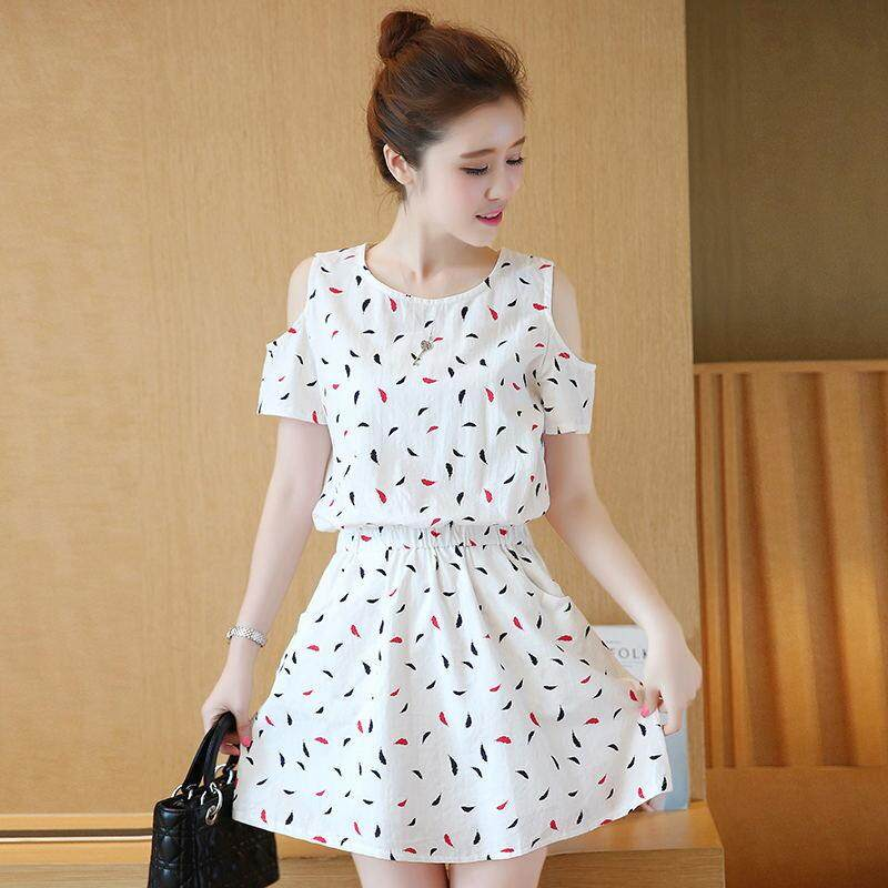 Summer new Korean girls slim fashion print loose dress