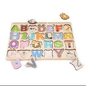 Alphabet/Number/Graph Wood Cognitive Puzzle Set Kids Early Educational Learning Toys #Alphabet - intl