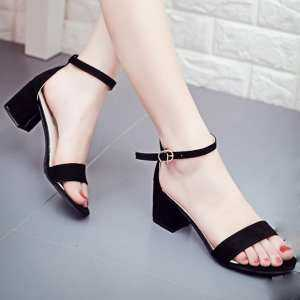 Inesshop Women Single Band Chunky Heel Sandal With Ankle Strap Summer Sandals Shoes