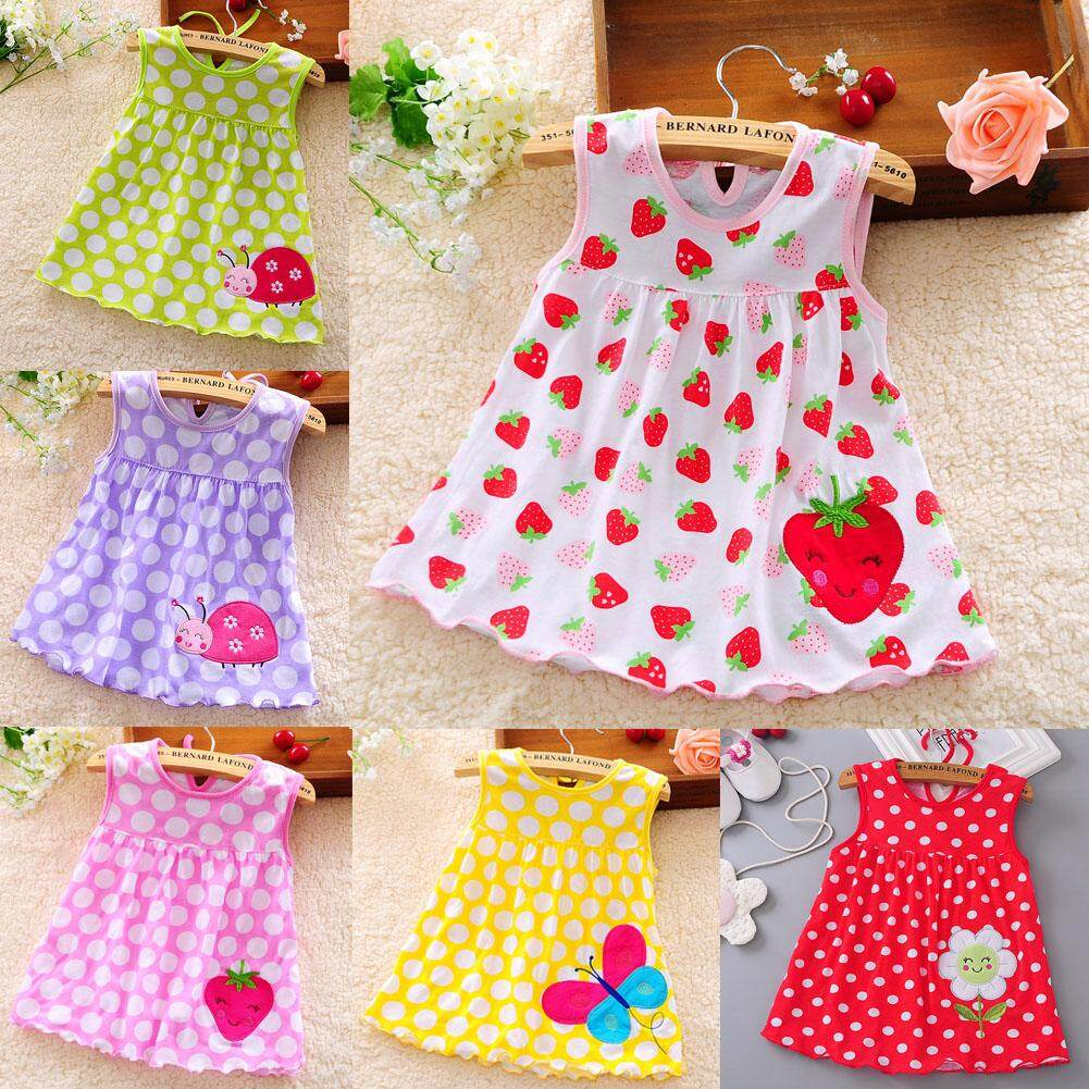 5 Pcs Kids Girls Cotton Princess Dress Lovely Vest Printing Dress Random Color(0-2 years old)