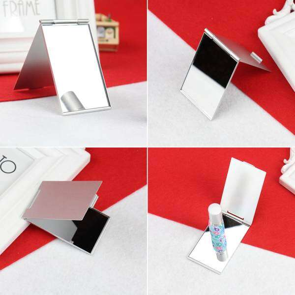 Hot Ultra-thin Make Up Pocket Mirror Cosmetic Rectangle Foldable Silver Makeup Mirrors - intl Philippines