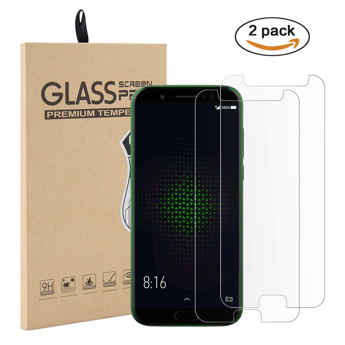 Hình thu nhỏ Moonmini Case Cover for 2 Pack Tempered Glass Screen Protector Film Anti-Scratch Screen Cover for Xiaomi Black Shark