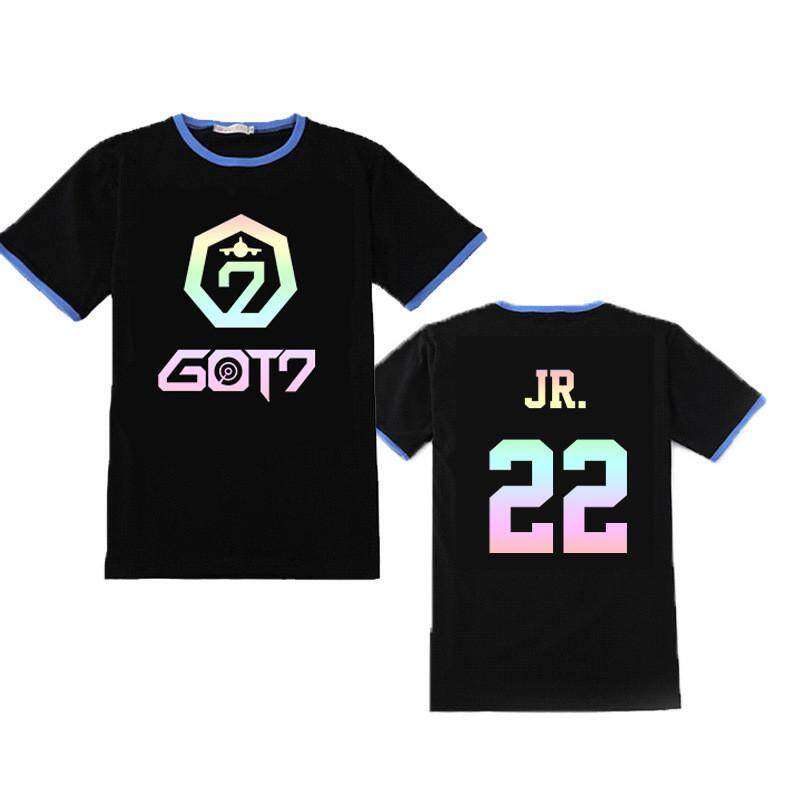 Kpop GOT7 FLY Album Laser Logo Unisex Shirts JB JinYoung Mark Jackson YoungJae YuGyeom BamBam Hip Hop Casual Loose Clothes Tshirt T Shirt Short Sleeve Tops T-shirt For Men And Women DX777