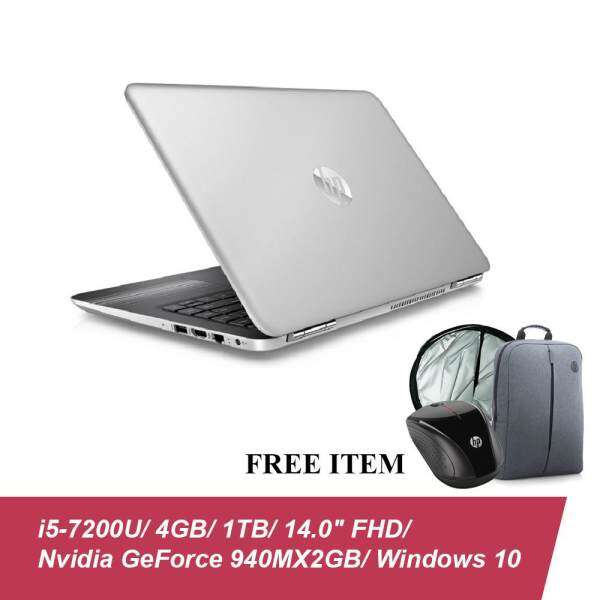 HP Pavilion 14-al103TX Laptop (i5-7200U, 4GBD4, 1TB, 940MX 2GB, 14.0 FHD, Win10) - Natural Silver + Free HP X3000 Wireless Mouse, Car Sunshare & Backpack Malaysia