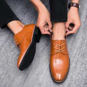 PINSV Shoes New Simple And Fashion Business Leather Shoes Soft And Breathable Casual Leather Shoes Non-Slip Wear-Resistance Shoes