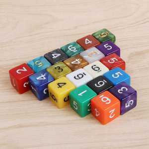 Hình ảnh 20pcs 15mm Multicolor Acrylic Cube Dice Beads Six Sides Portable Table Games Toy - intl