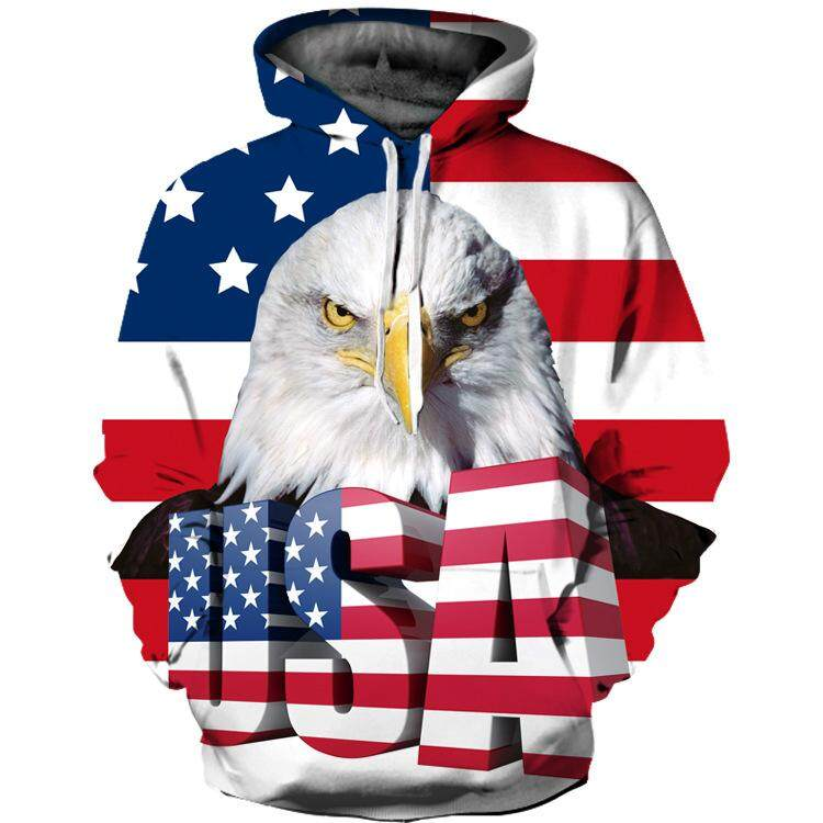 USA Flag Eagle Print Men and Women's  Hoodie Coat