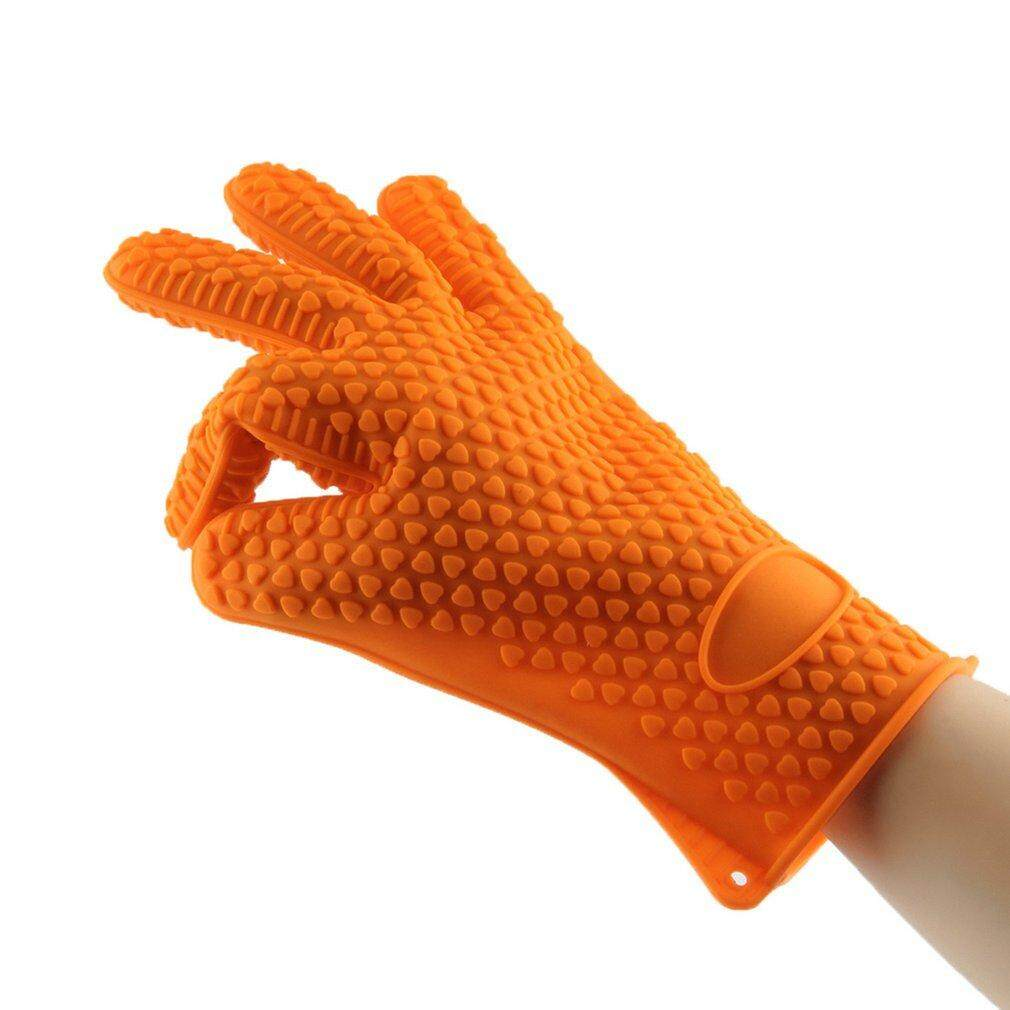 Hình thu nhỏ XING 1Pc Thicken Food Grade Silicone Oven Glove Heat Resistant Barbecue Drill Mitt Glove Kitchen BBQ Baking Tool Accessories - intl