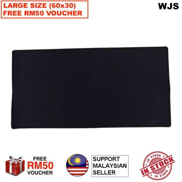 (FREE RM50 VOUCHER) WJS Large Gaming Mouse Pad 60 x 30CM Computer Rubber Pro Keyboard Mats (Black) Malaysia
