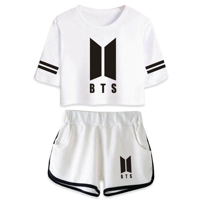 Kuhong Women Summer Kpop BTS Fashion New Leisure 2pcs Set Boutique T-shirt & Shorts
