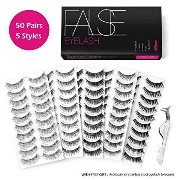 Eliace 50 Pairs 5 Styles Lashes Handmade False Eyelashes Set Professional Fake Eyelashes Pack,10 Pairs Eyes Lashes Each Style,Very Natural Soft and Comfortable,With Free EyeLash Tweezers - intl Philippines
