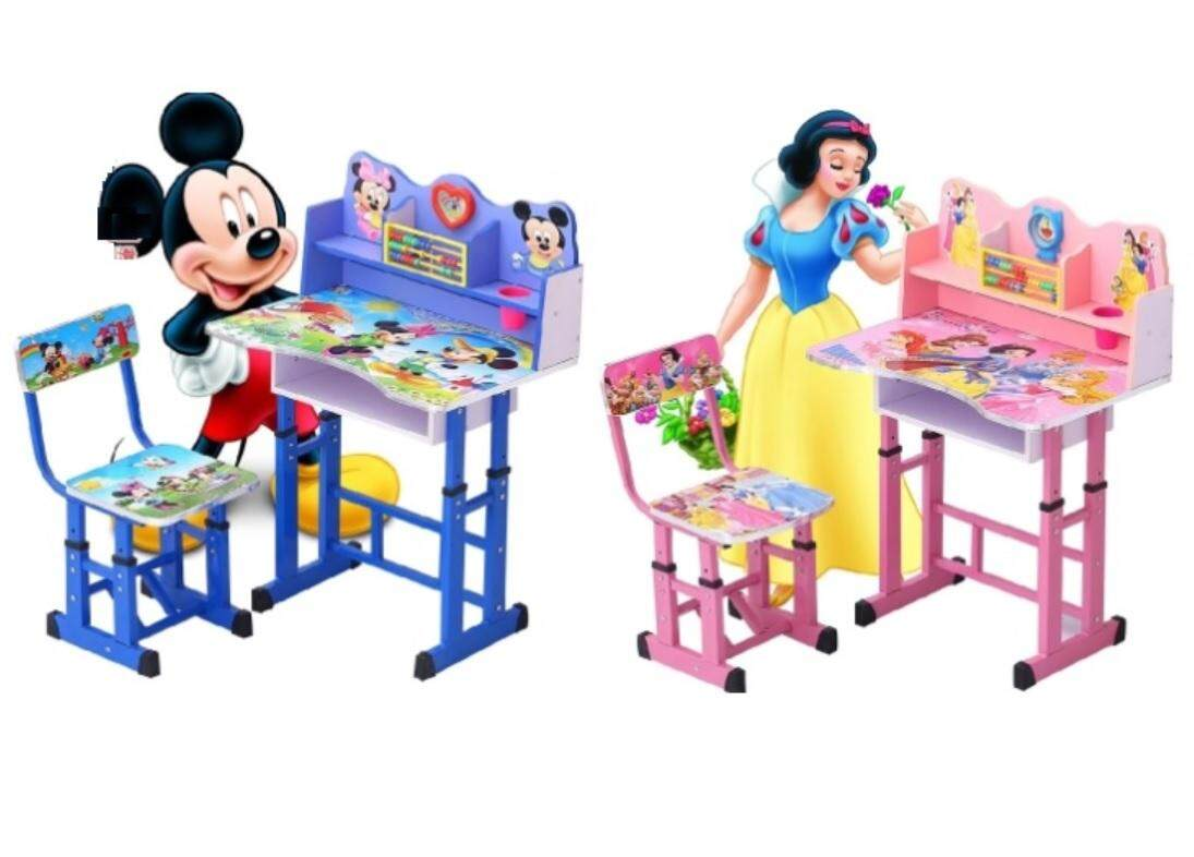 Cartoon Kids Study Table & Chair Set (Pink with Princess Theme)