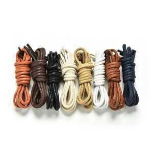 Hình thu nhỏ sản phẩm Newly Multi Color Waxed Round Shoe Laces Shoelace Bootlaces Leather Brogues Beige - intl