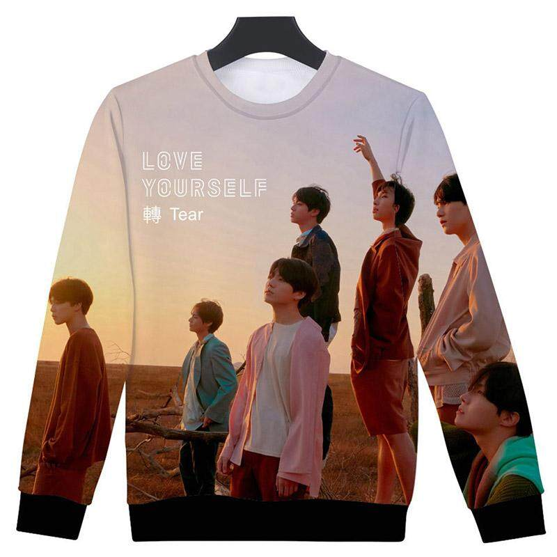 Kuhong Women Kpop BTS Fashion Photo Printing Round Neck Leisure Personality Sweatshirt