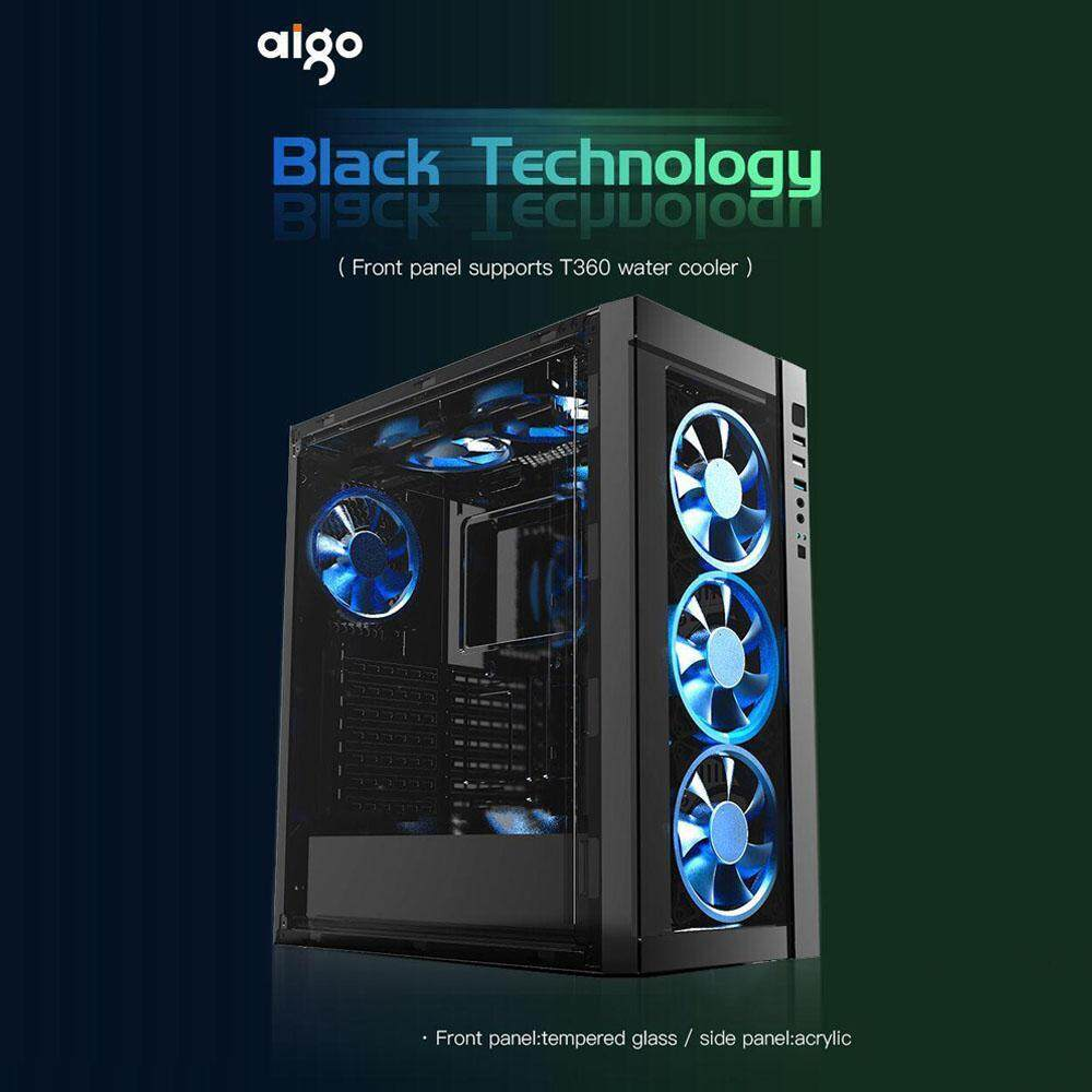 Aigo Black Technology Front Panel Tempered Glass Full Window Casing + 3 Units Aigo Z6 Dual LED Ring Fan Malaysia