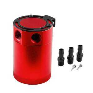 Universal Baffled Aluminum 3-Port Oil Catch Can Tank Air-Oil Separator Fuel - intl