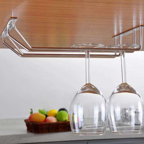 Stainless Steel Champagne Stemware Rack Glass Cup Holder Kitchen Wall Mount Wine Rack Bar Hanger with Screws, Size: 50*22*5cm