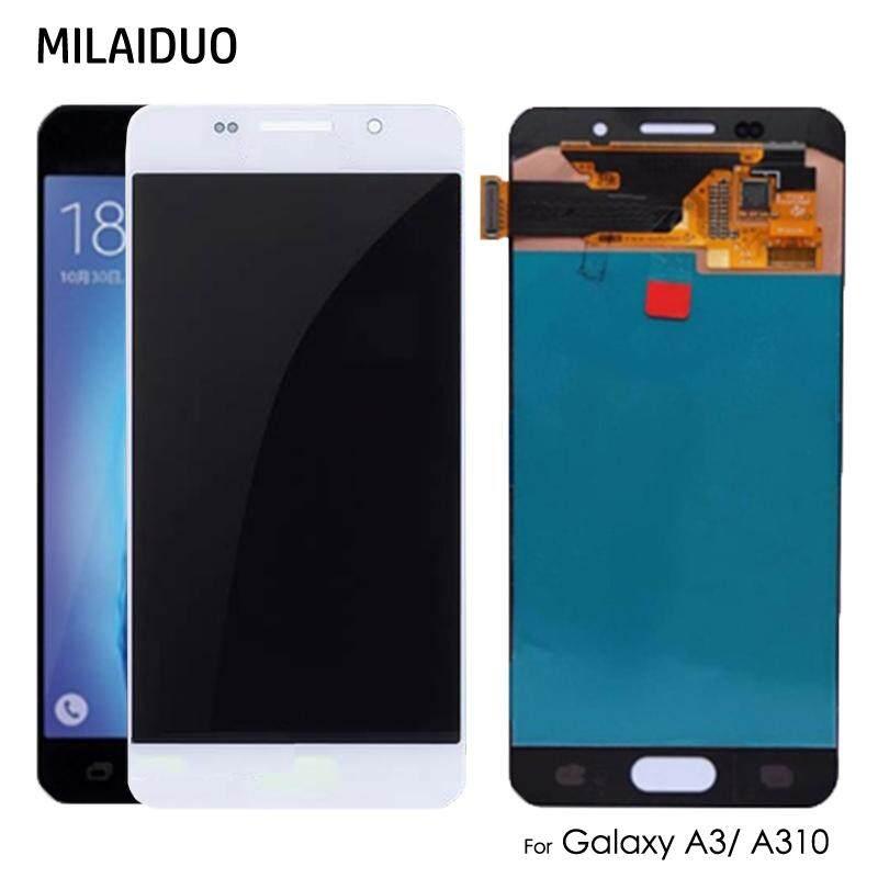 Milaiduo Asli Super AMOLED/TFT untuk Samsung Galaxy A3 2016 LCD A310 A310f Sm-a310f Rakitan Digital Layar Sentuh LCD
