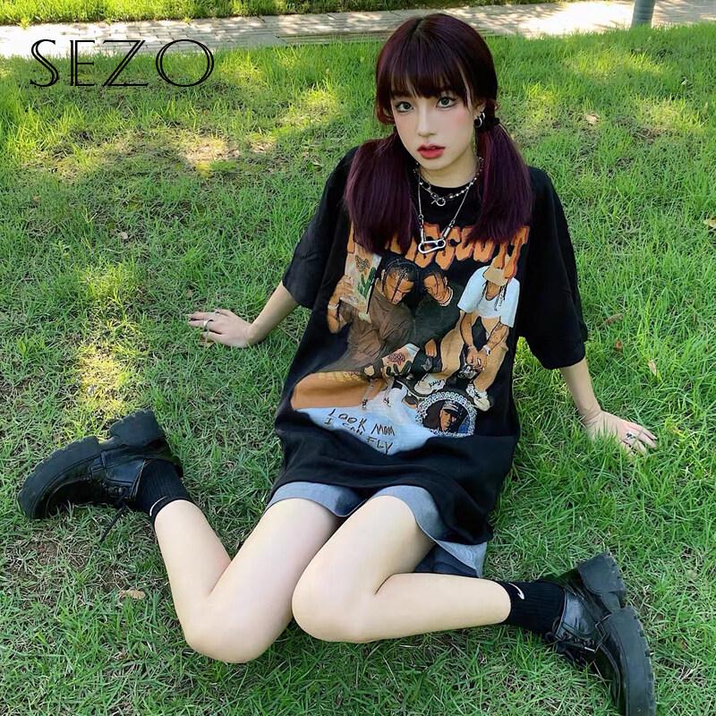 SEZO Áo Thun Tay Ngắn In Hình Cá Tính Phong Cách Hip Hop Hàn Quốc 2 Màu Tùy Chọn Cho Nữ