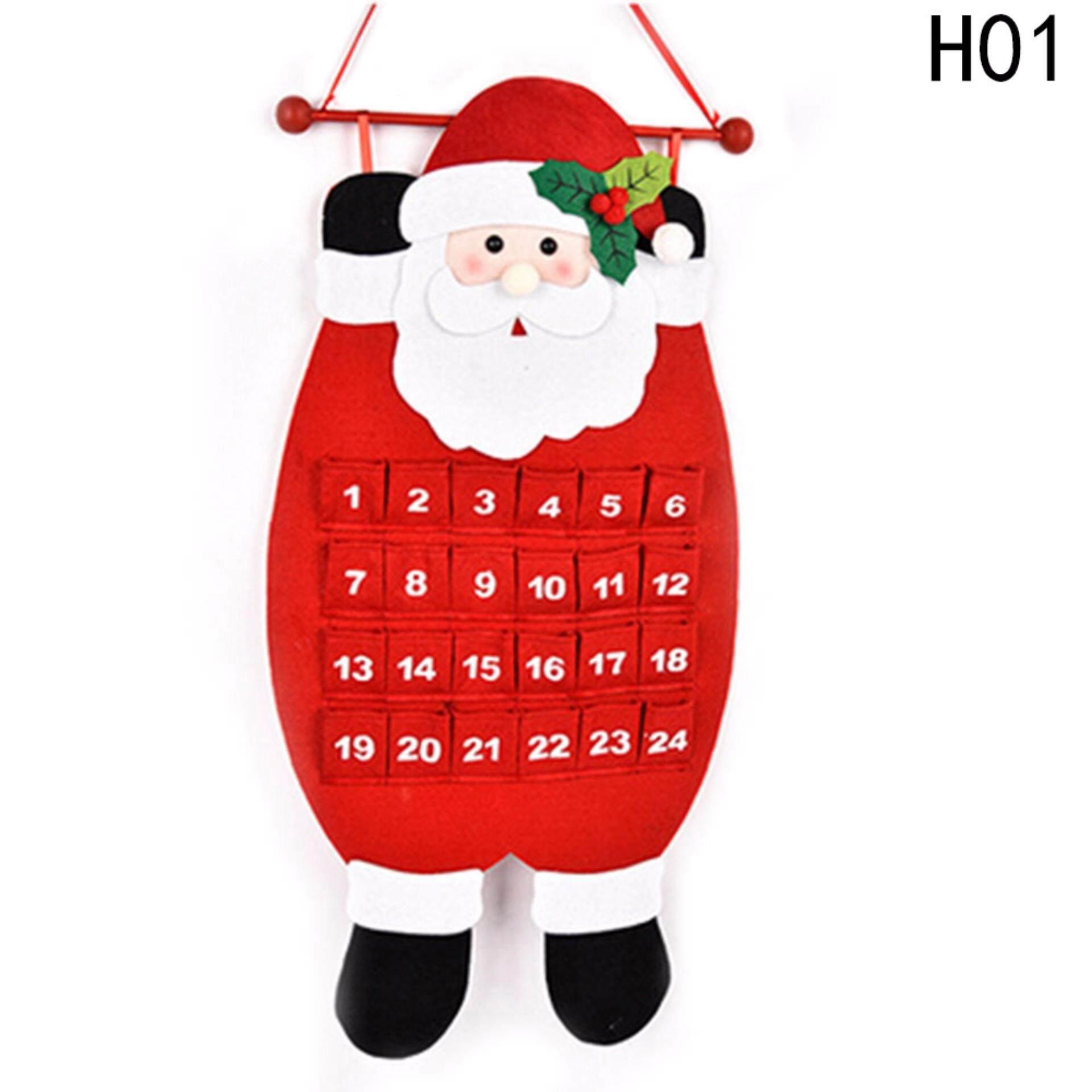 Fancyqube ปฏิทินคริสต์มาส Craft ซานตาคลอสมนุษย์หิมะตัวแขวนตกแต่ง H01 - Intl.