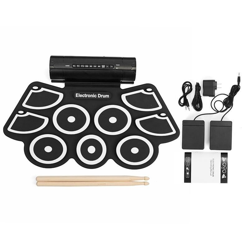KONIX MD760L Portable USB 9 Pads Roll Up Electronic Drum with Built-in Battery Drum Sticks - intl