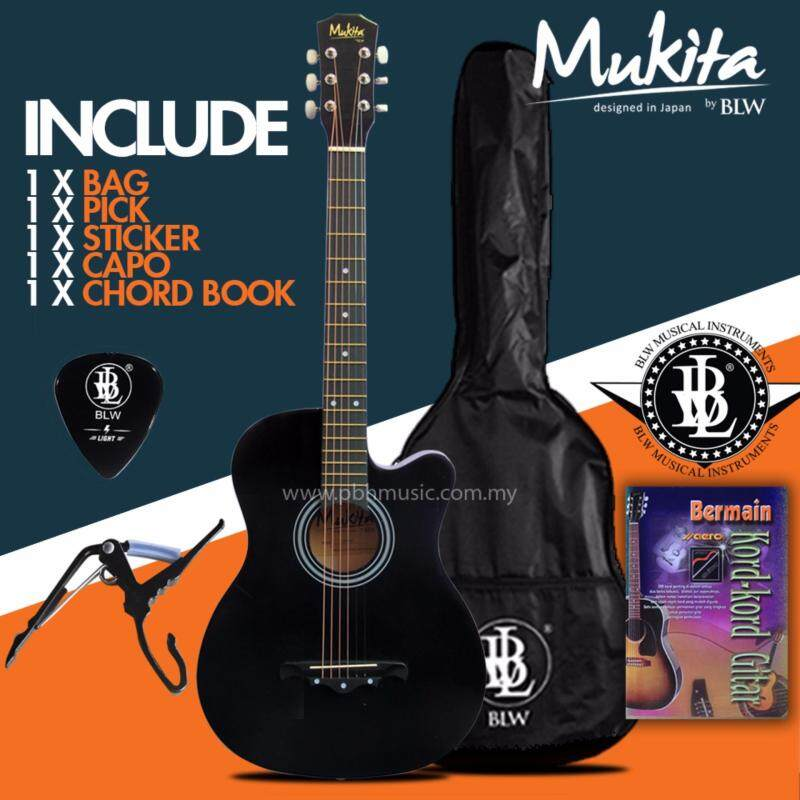 Mukita by BLW Standard Acoustic Folk Cutaway Basic Guitar Package 38 Inch for beginners with Bag, Pick, Capo, Chord Book and Merchandise Sticker (Black) Malaysia
