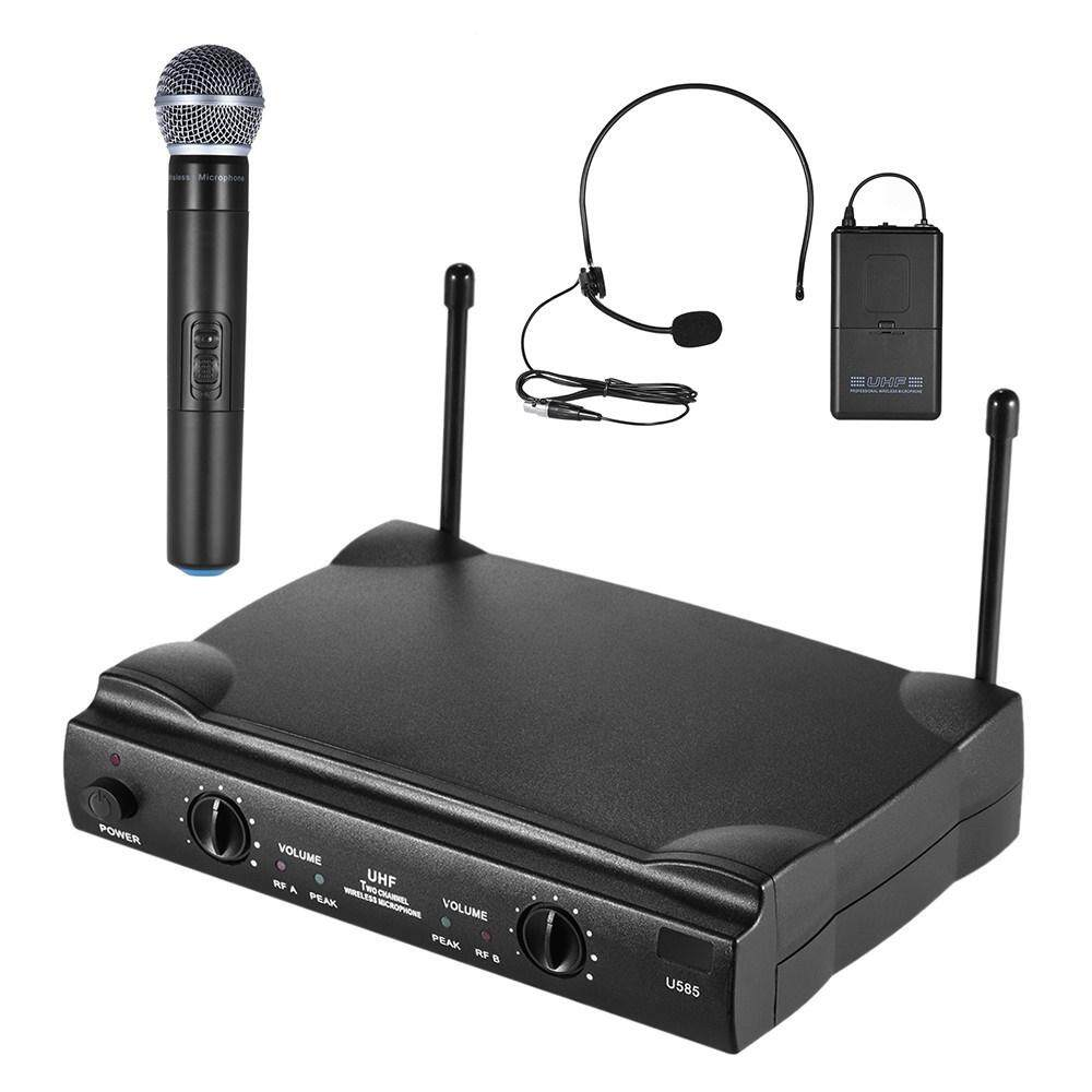 UHF Dual Saluran Mikrofon Nirkabel Mic Sistem dengan 1 Pemancar Bodypack 1 Headset dan 1 Handhel-Intl