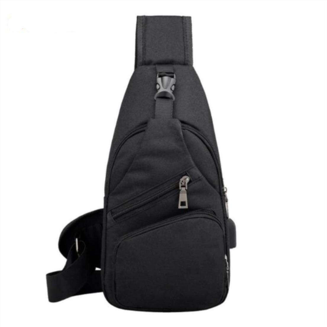 f7533732dc Male Leisure Sling Chest Pack Crossbody Bags For Men Messenger Canvas Usb  Charging Leather Men S