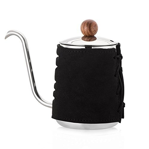 【SDreams-Home】Pour Over Coffee / Tea Kettle, High Grade Stainless Steel Hand Drip Kettle with Extra Narrowed Gooseneck Spout and Synthetic Leather Wrapping  -300ml
