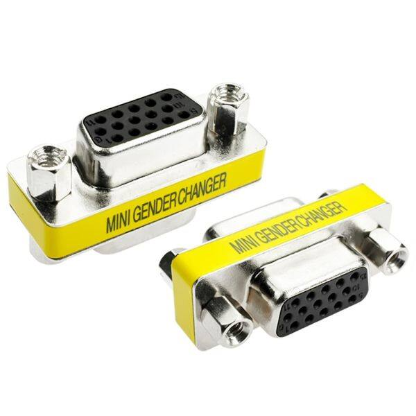 2 PCS VGA Cable Connector Female to Female Monitor Video Cable Adapter with 3 Rows of 15 Holes Malaysia
