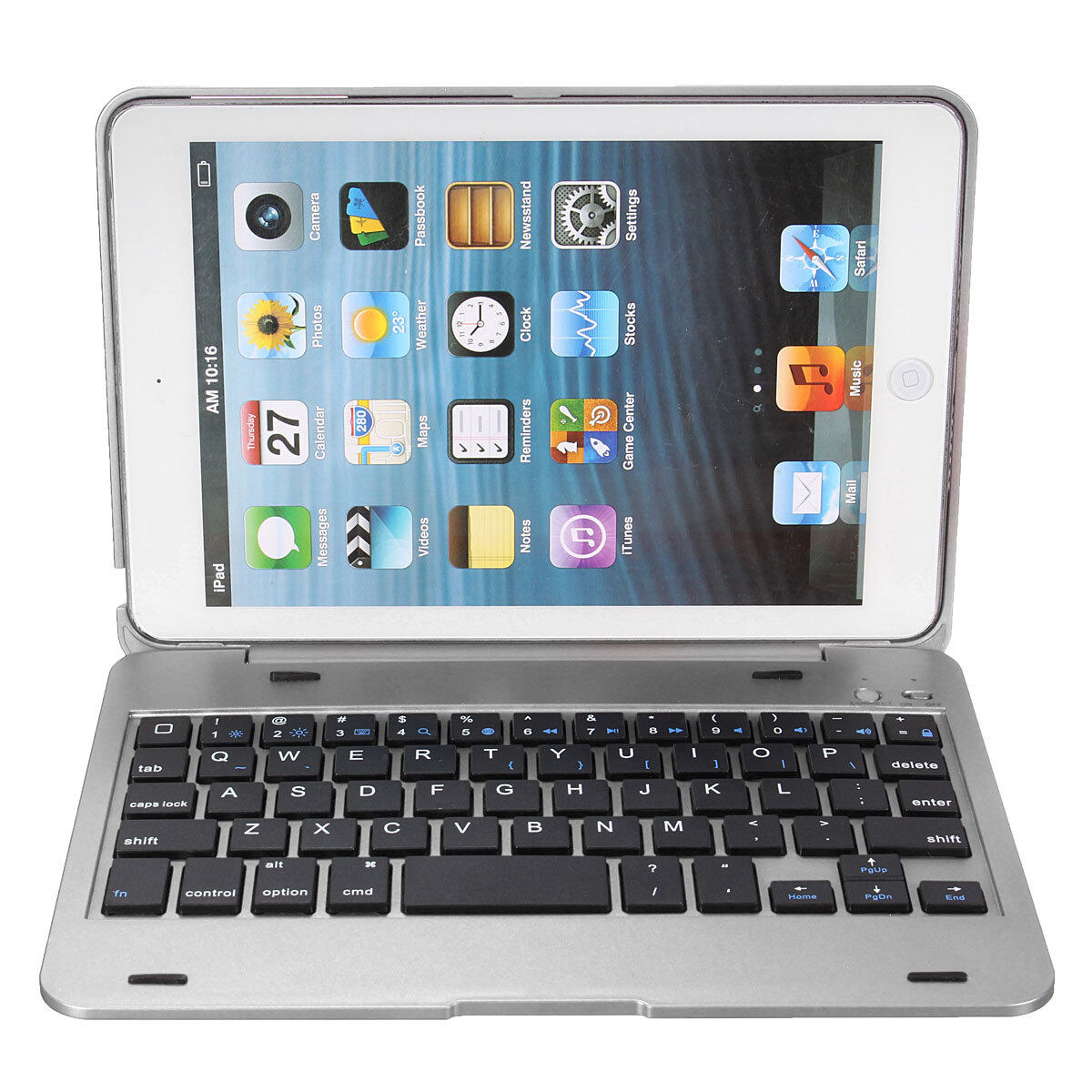 2in1 Bluetooth Keyboard Stand Cover Holder For iPad Mini 1 2 3 Silver - intl