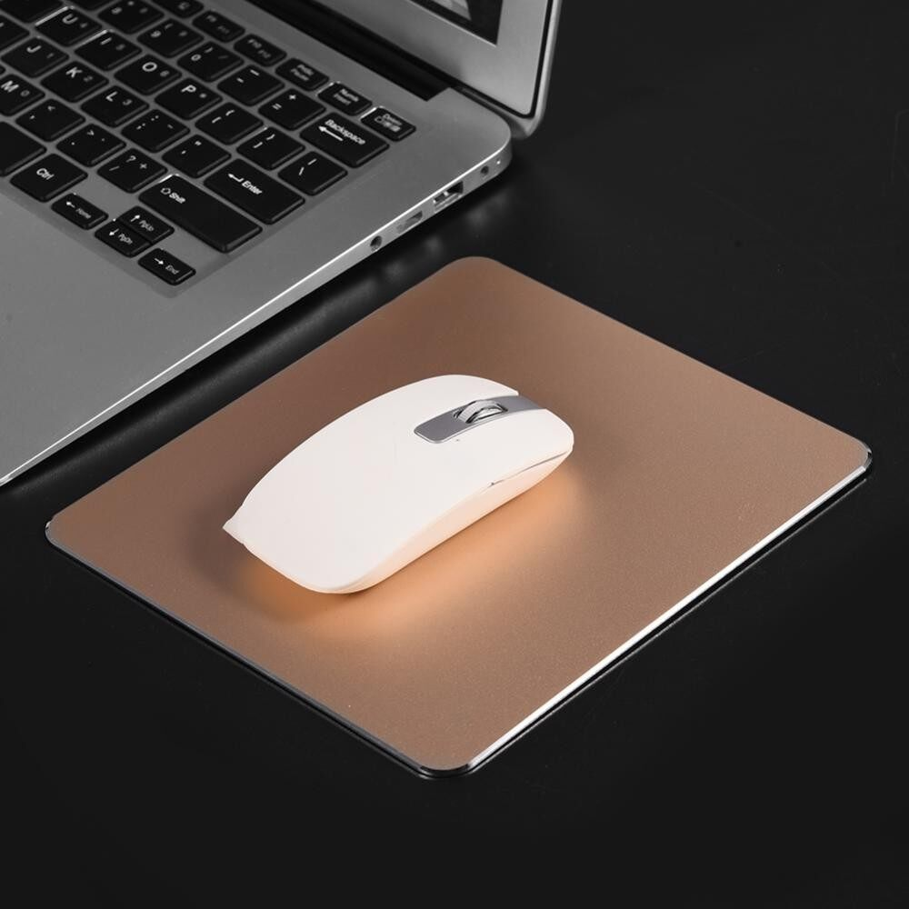 Aluminum Non-slip Gaming Mouse Pad Mat Double Sided Accurate Control Mousepad for PC Gold - intl