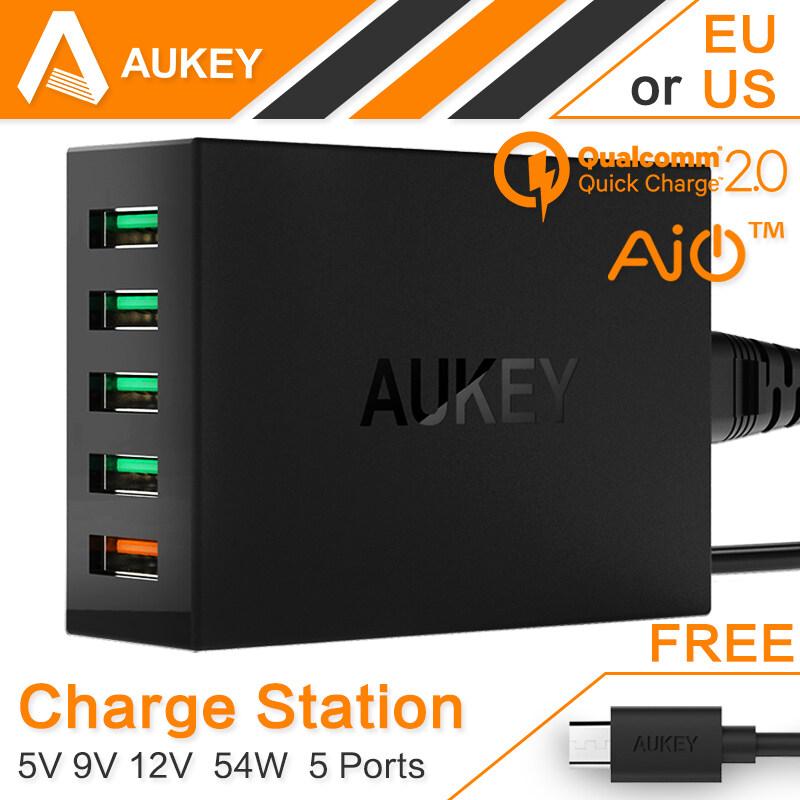 Aukey PA-T1 Quick Charge 2.0 54 วัตต์ 5 พอร์ตเดสก์ทอป USB ขนาดเล็กที่
