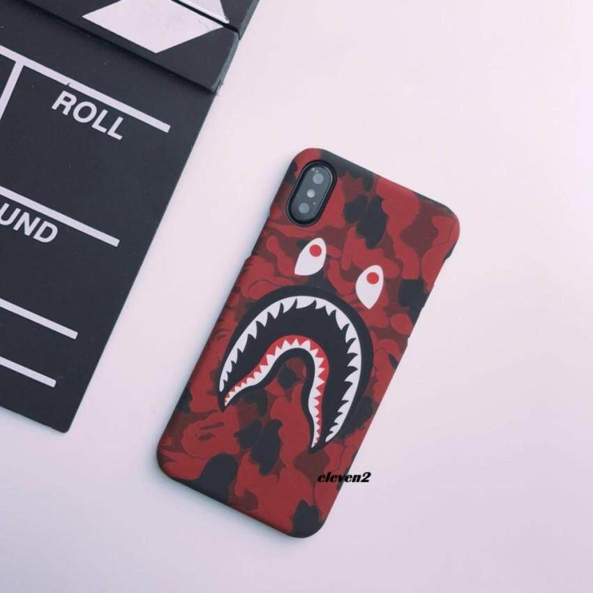 Bape Shark Camouflage Matte Army Phone Case For Apple Iphone X Red